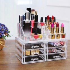 Acrylic Jewelry And Cosmetic Storage Makeup Organizer 6 Drawers Clear