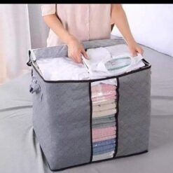 Extra Thick Fabric Foldable Closet Zippered Storage Bags Organizer Container for Clothes Blanket Pillow Comforter with Clear Window Multicolors
