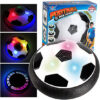 Floating Football, Indoor Outdoor Air Powered Electric Soccer, Soft Foam Ball Game Toy Training Football Disc Hover Ball Fun Board Game with Foam Bumper, LED Light for Kids Children