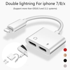2 in 1 Lightning Splitter 8 Pin to Lightning Audio Jack + Lightning Charge Cable For Iphone 6/7/8/X/11