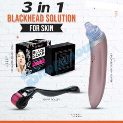 3 in 1 Blackhead Solution for Skin Derma Roller Blackhead Remover & DR RASHEL Black Soap