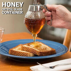 Crystal Glass Honey Dispenser Transparent Honey Storage Bottle Container