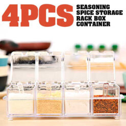 4PCS Crystal Clear Seasoning Box Acrylic Spice Rack Storage Container Condiment Jars with Cover and Spoon22