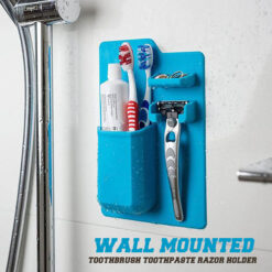 Wall Mounted Silicone Toothbrush Toothpaste Holder Razor Organizer Rack Holder Bathroom Accessories