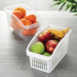 Compact Kitchen Plastic Basket Organizer for Fruits Vegetable Large Tray Fridge Organizer (3)