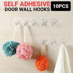 Transparent Strong Self Adhesive Door Wall Hooks For Hanging Kitchen Bathroom Accessories 10 Pcs (1)