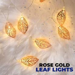 Rose Gold Leaf Copper Metal LED String Lights for Party Decorations 10 Leads 5FT (3)