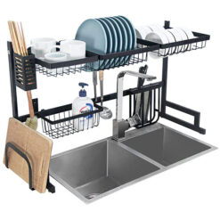 Rack Over The Sink Dish Drying Rack, Over Sink Dish Drainer, Stainless Steel, for Kitchen Utensil Storage, Black